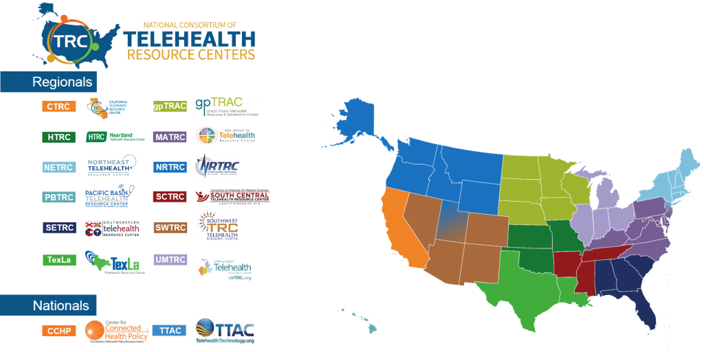 map of different telehealth resource centers in America
